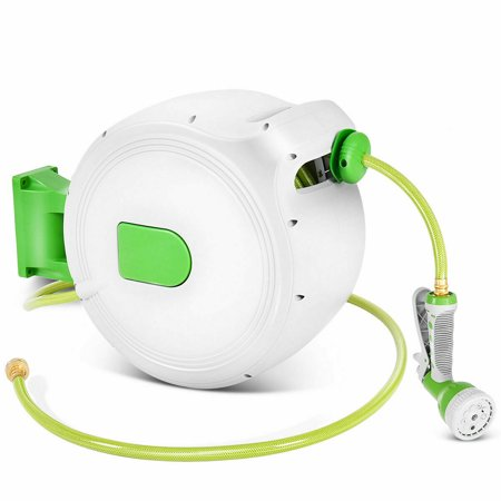 Costway 100' Retractable Water Garden Hose Reel Auto Wall Mounted W/Spray Gun ()