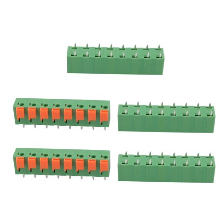 5pcs KF142 400V 15A 7.62mm Pitch 8P Green Spring Terminal Block for PCB Mounting - image 2 de 2