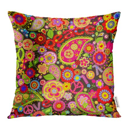 EREHome 60S Colorful Flower Symbolic Butterfly Ladybird Seventies 70S Pillowcase Cushion Cases 18x18 inch - image 1 de 1
