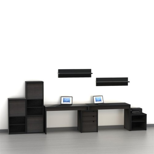 Nexera Sereni T 2 Person Desk With Filing Cabinet Black