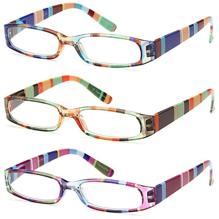 GAMMA RAY READERS 3 Pairs Ladies' Readers Quality Spring Hinge Reading Glasses for Women - (Hinge Reading Glasses)