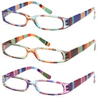 GAMMA RAY READERS 3 Pairs Ladies' Readers Quality Spring Hinge Reading Glasses for Women - 1.25x