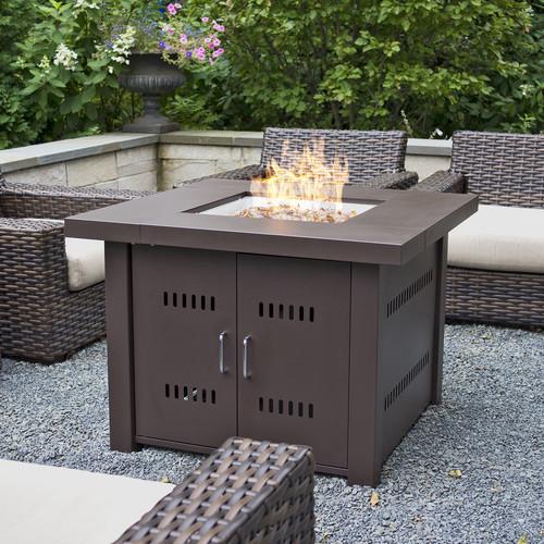 Belleze 40,000BTU Outdoor Patio Propane Gas Firepit Table w  Fire Glass LG Gas, Black by Belleze