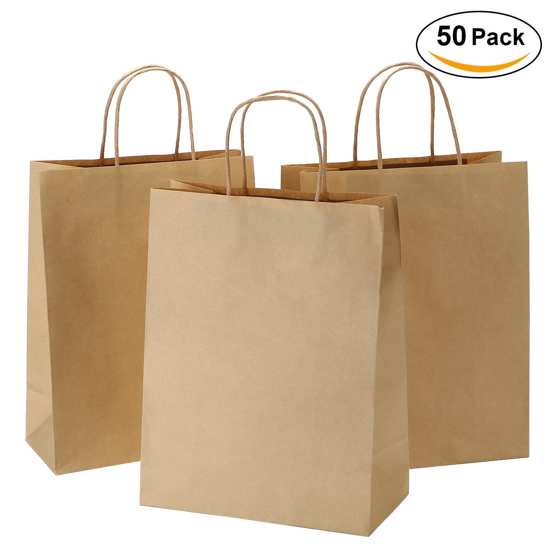 "10""x5""x13"" - 50 pcs - TKOOFN Kraft Paper Bag - Shopping bag with Handles, Shopping Durable Reusable Merchandise Retail Bags Brown/Black"