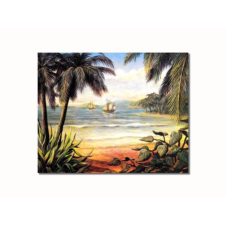 Tropical Beach Pictures (Tropical Beach Two Ships Ocean Wall Picture 8x10 Art Print)