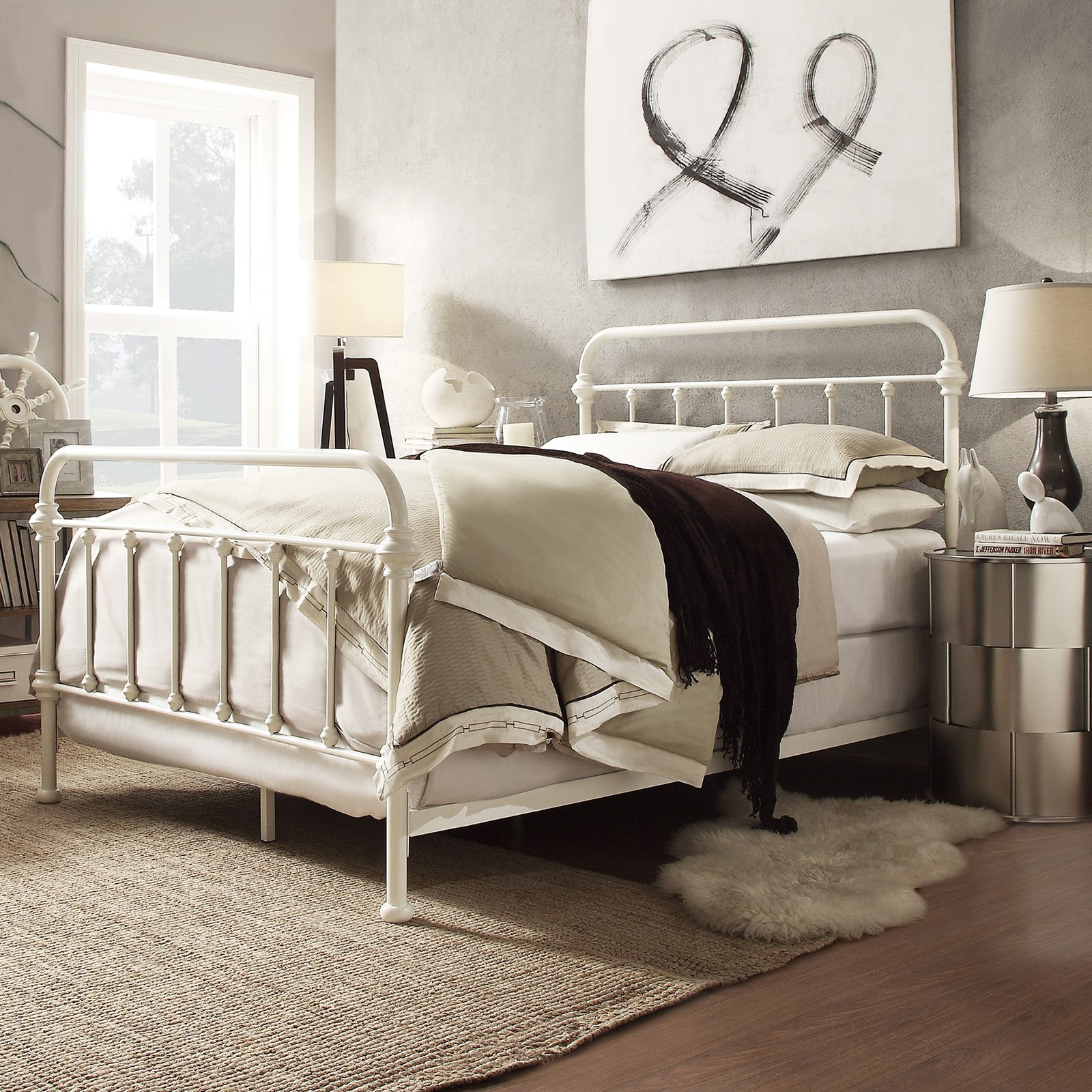 Picture of: Weebluefish Vintage White Metal Bed Frame