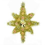 "21"" Oversized Lighted Gold Tinsel Star of Bethlehem Christmas Tree Topper - Multi-Color Lights"