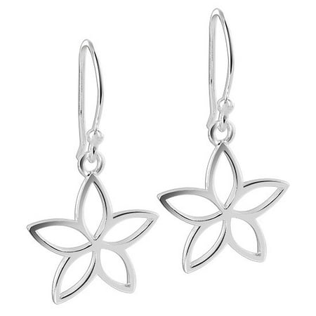 Gem Avenue 925 Sterling Silver 16mm wide Dangling Flower Dangle Earrings With French ear Wire