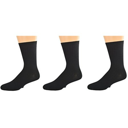 (Sierra Socks Unisex Big Boys Girls Classic Dress Uniform Ribed 3 Pair Pack Crew Socks K263 3007 (Sock Size L, Shoe Size 6-9, BLACK))