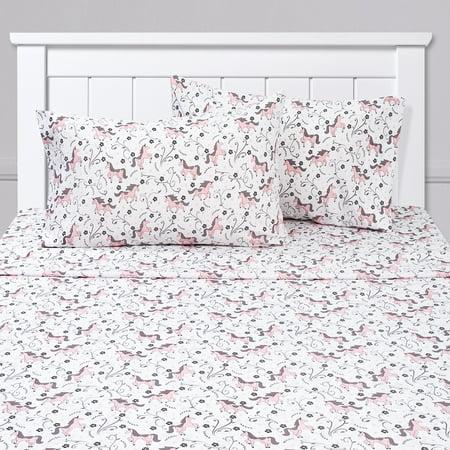 Prancing Unicorns & Stars White Pink Kids Sheet Set Twin, Twin XL, Full - All Stars Sweets