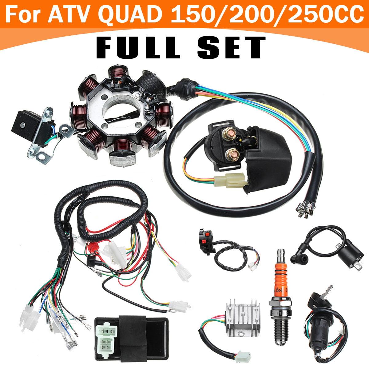 Full Wiring Harness Wire Loom CDI Stator suit Beach Car Accessories For ATV  QUAD CG125-250CC Engine Kit + Wire Harness Switch - Walmart.com -  Walmart.comWalmart