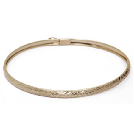 10K Yellow Gold Flexible Bangle Bracelet With Filigree Design 8 Inches