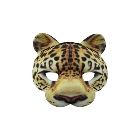 Leopard Half Mask Realistic Look Soft Foam Face Mask Halloween Costume Accessory - Half Face Masks Halloween