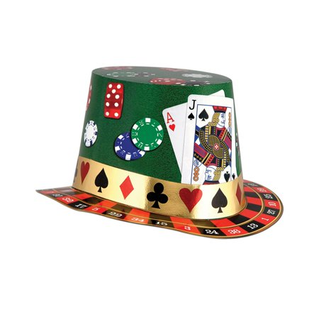 Club Pack of 25  Multi-Colored Casino Night Party Hi-Hats