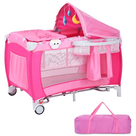 Costway Foldable Baby Crib Playpen Travel Infant Bassinet Bed Mosquito Net Music w