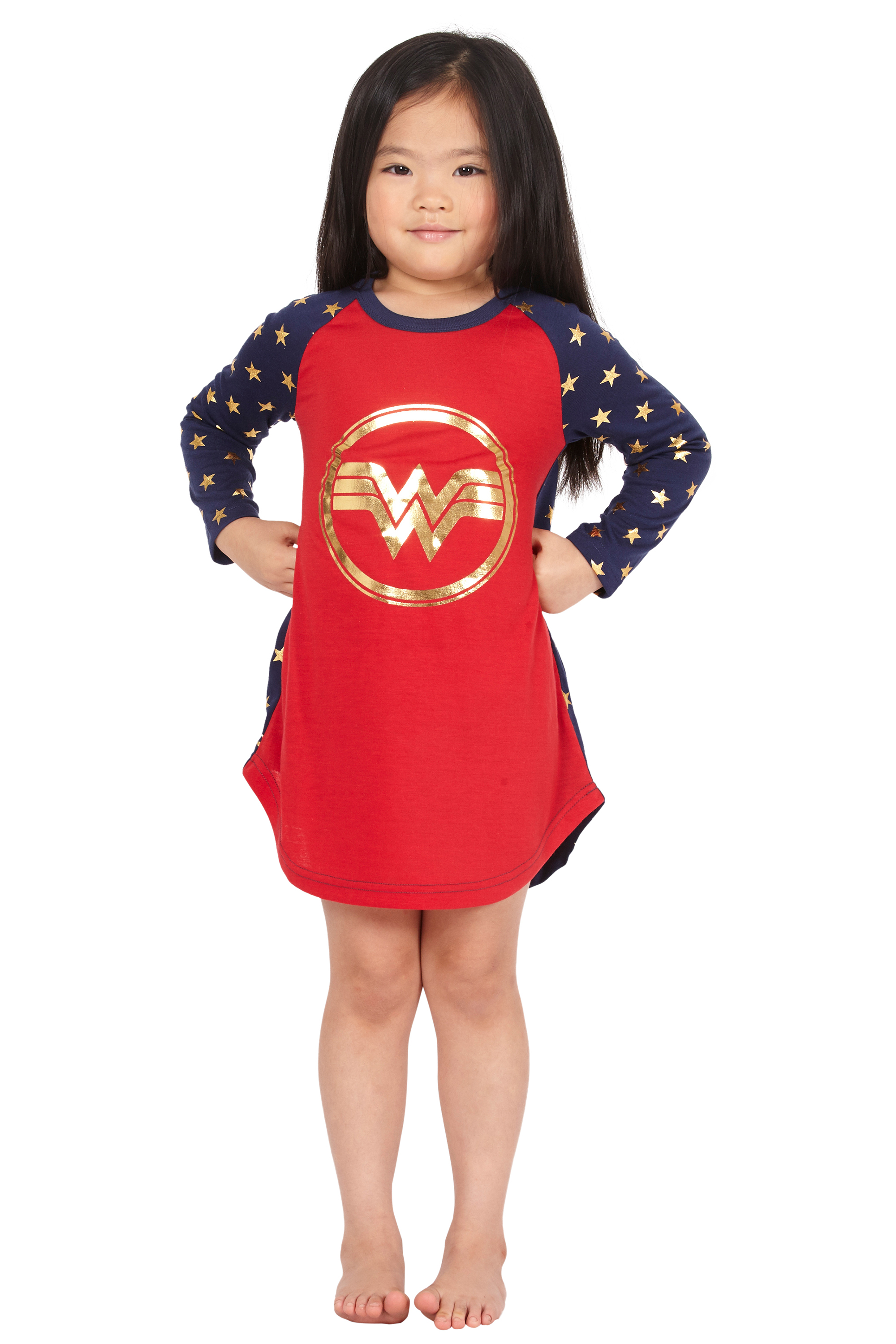 17fe53bcf3 Intimo - Wonder Woman Costume Girls  Gold Logo Raglan Nightgown Pajama  Sleep Shirt - Walmart.com