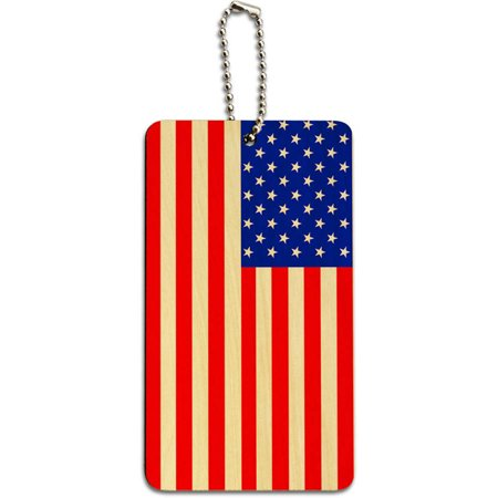 USA American Flag Wood ID Tag Luggage Card for Suitcase or Carry-On