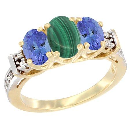 14K Yellow Gold Natural Malachite & Tanzanite Ring 3-Stone Oval Diamond (Turquoise Malachite)