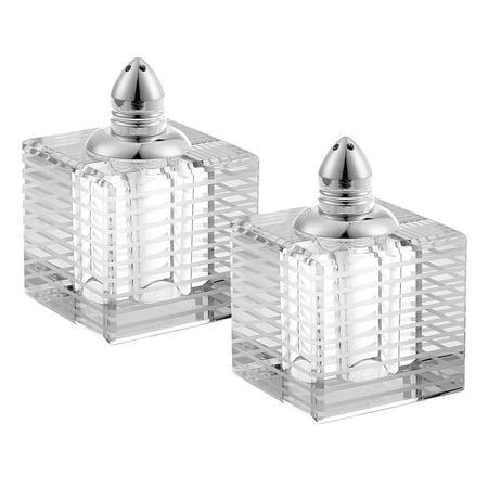 (D) Handcrafted 'Pinstripes Silver' Crystal Glass 2-pc Salt & Pepper Shakers Set Crystal Salt And Pepper Set