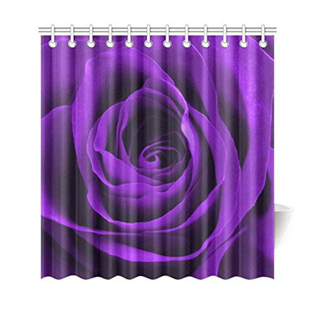 WOPOP Big Flower Shower Curtain Purple Rose Blossoms Polyester Fabric Bathroom Sets 66x72 Inches