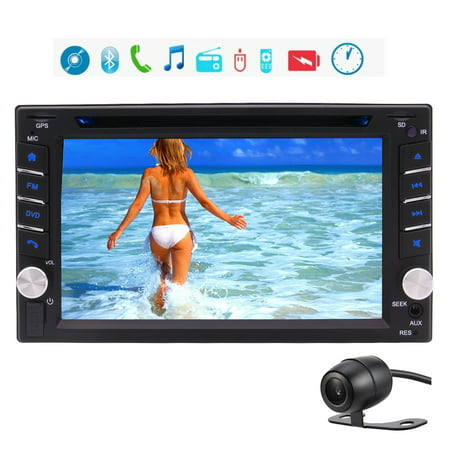 Double DIN In-Dash DVD/CD/AM/FM Car Stereo Receiver 2 Din Head Unit with GPS Navigation Bluetooth USB/Micro SD Card Slot 6.2