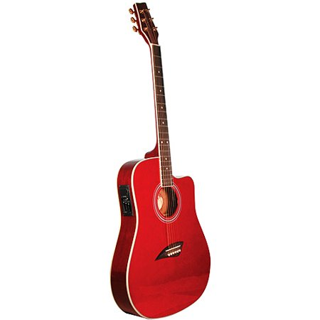 Kona Thin-Body Acoustic/Electric Guitar, Spruce with Transparent Red Finish (Diamond Transparent Guitar)