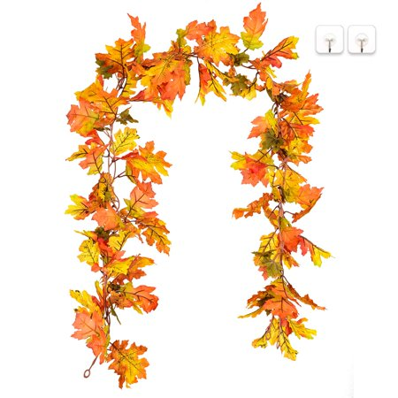 Coolmade 2 Pack Artificial Maple Leaf Garlands, 5.9 ft/Piece Autumn Hanging Fall Leave Vines for Indoor Outdoor Wedding Thanksgiving Dinner Party Fireplace Christmas Decor (Girlande 2)