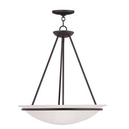 Pendants Porch 3 Light With White Alabaster Glass Bronze size 20 in 300 Watts - World of Crystal ()