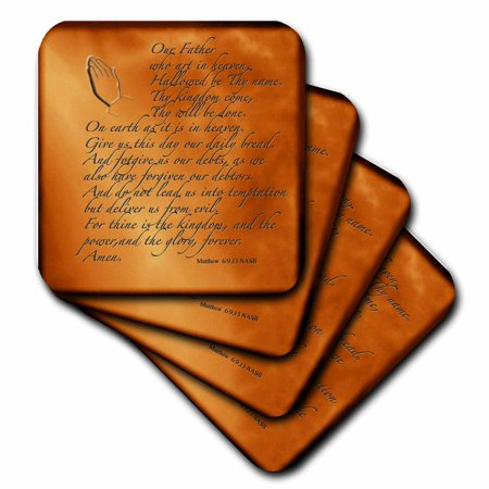 3dRose The Lords Prayer Matthew 6 9 13 Prayer Hands and verse embossed on copper, Soft Coasters, set of 4 (Cooper Coasters)