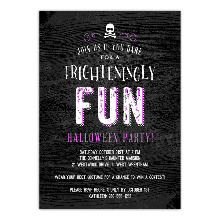 Classroom Halloween Party Invitation (Personalized Halloween Invitation - Frighteningly Fun - 5 x 7)