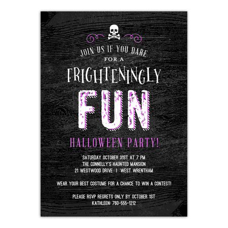 Personalized Halloween Invitation - Frighteningly Fun - 5 x 7 Flat