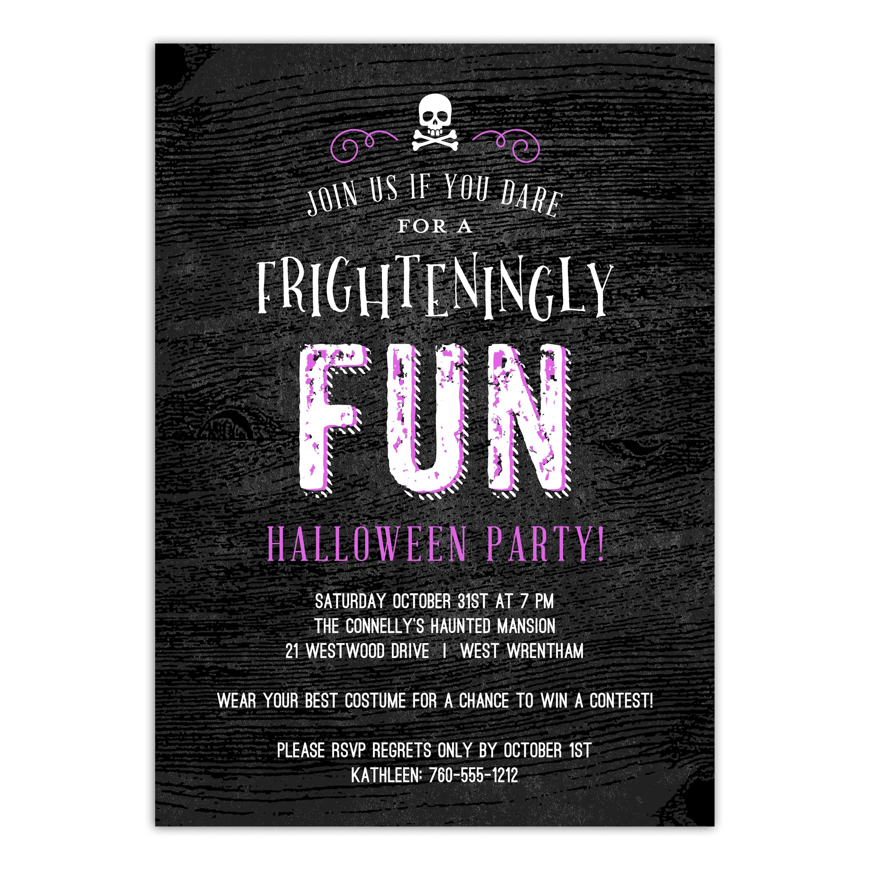 Personalized Halloween Invitation - Frighteningly Fun - 5 x 7 Flat