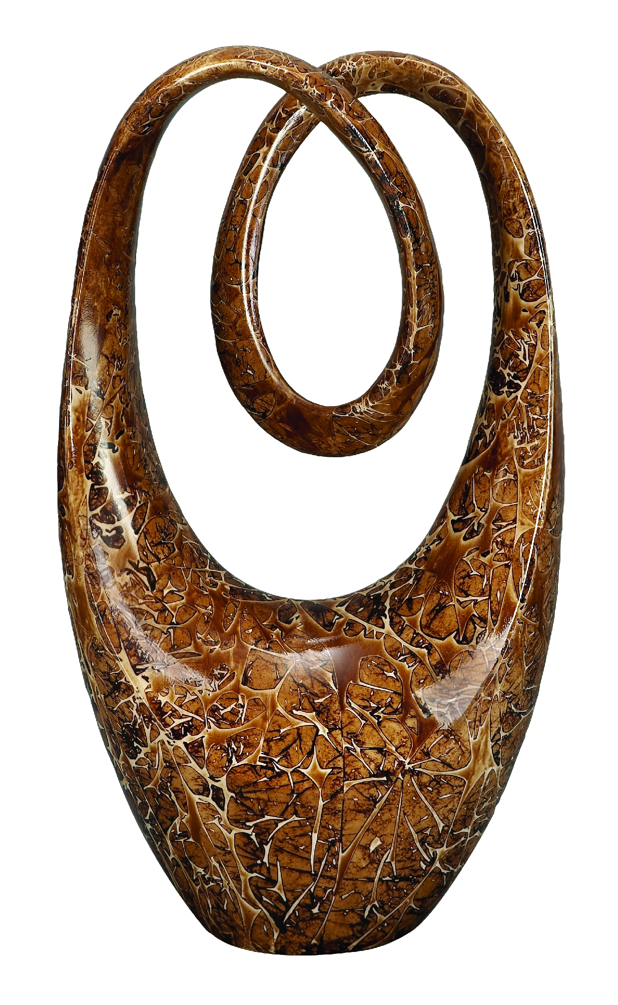 Decmode Modern 20 Inch Abstract Oval Loop Polystone Sculpture, Brown by DecMode