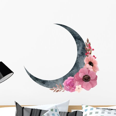 Crescent Decal - Bohemian Anemones Crescent Moon Wall Decal Wallmonkeys Peel and Stick Graphic (24 in H x 24 in W) WM502684