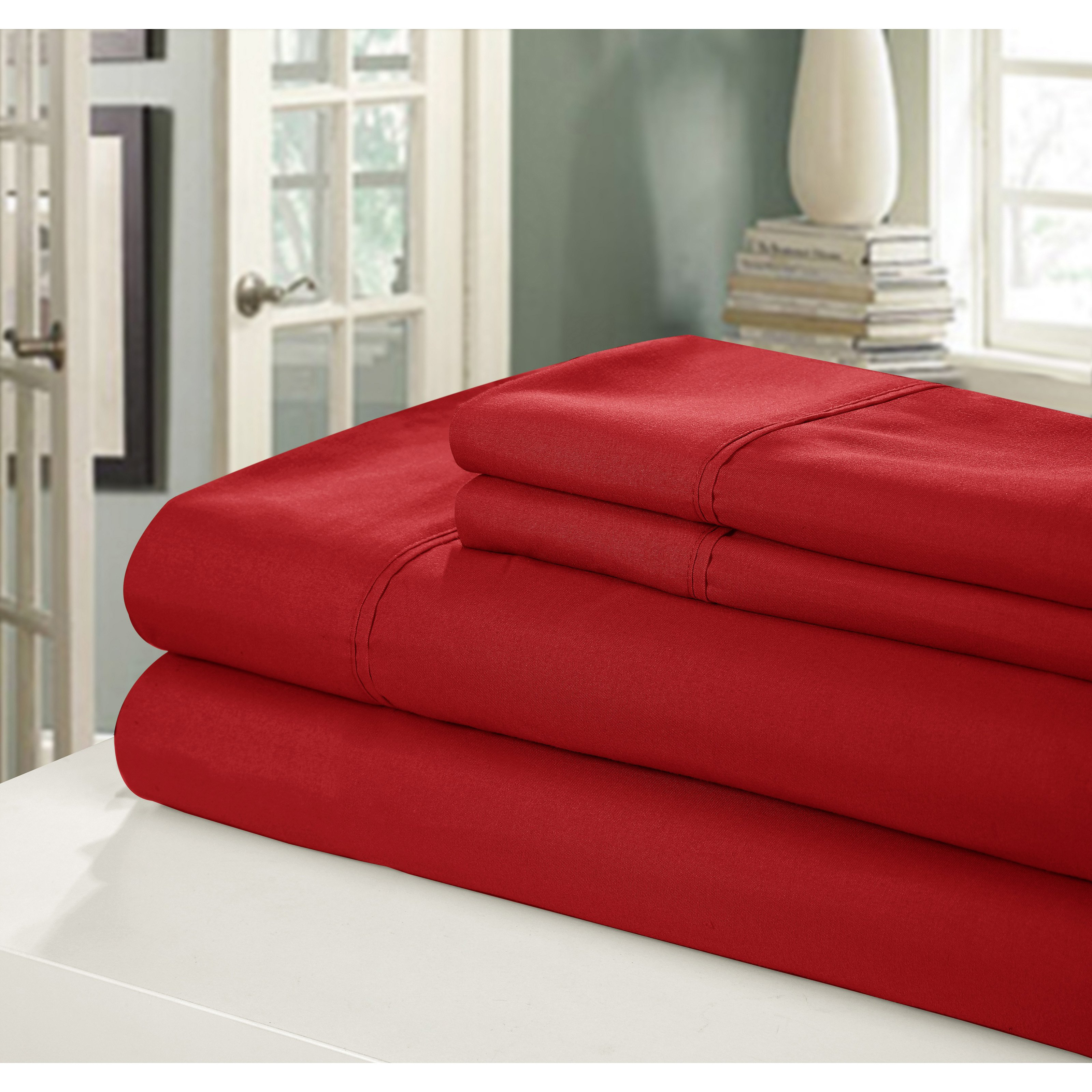 Chic Home Peach Skin Microfiber Sheet Set - Queen - Red