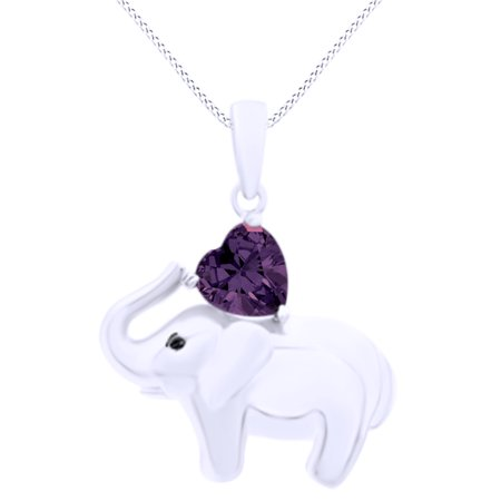 Valentine's Day Elephant Pendant Necklace Heart Shaped Simulated Amethyst CZ 14K White Gold Over Sterling