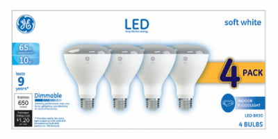 GE LED 10W Soft White, BR30 Indoor Flood Medium Base, Dimmable, 4pk Light Bulbs - Walmart Inventory Checker - BrickSeek