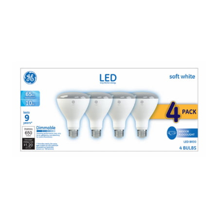 GE LED 10W Soft White, BR30 Indoor Flood Medium Base, Dimmable, 4pk Light
