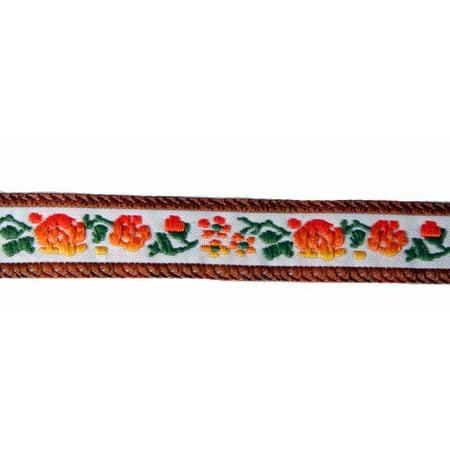 5/8 Inch Orange Rose Woven Jacquard Braid Ribbon