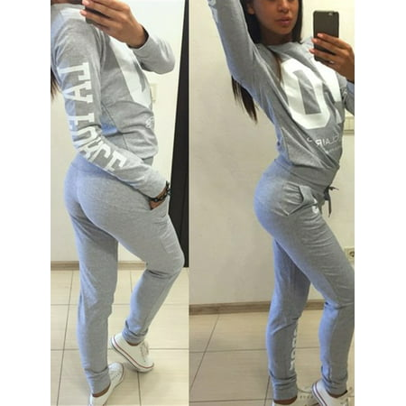 Casual Gray Sports Wear Pullover Tracksuits for Women, Womens 2Pcs Tracksuit Sets with Hoodies Sweatshirt & Pants,S](Panda Suit For Sale)