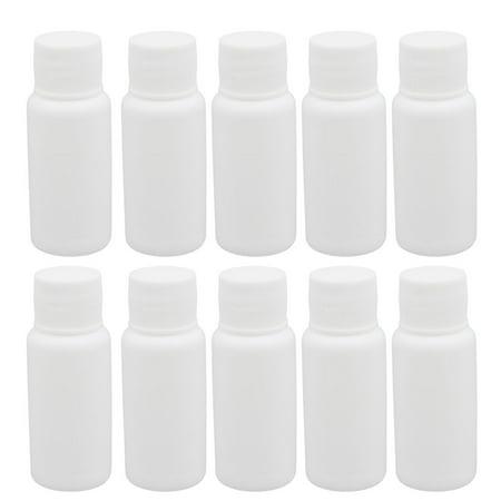 Unique Bargains 10pcs 0.7oz HDPE Plastic White Refillable Narrow Mouth Storage Bottle Jar