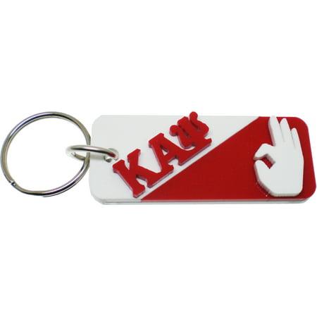 Kappa Alpha Psi Paddle - Kappa Alpha Psi Hand Sign Split Symbol Keychain [White/Red - 3