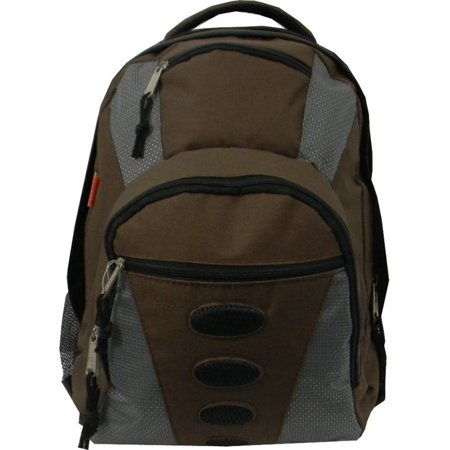 Student Bookbag Medium Daily Backpack Student School Bag 16.5 inch Casual Travel Daypack w/ Padded Back, Padded handle, Organizer & Side Mesh Pockets Coffee Brown/Grey