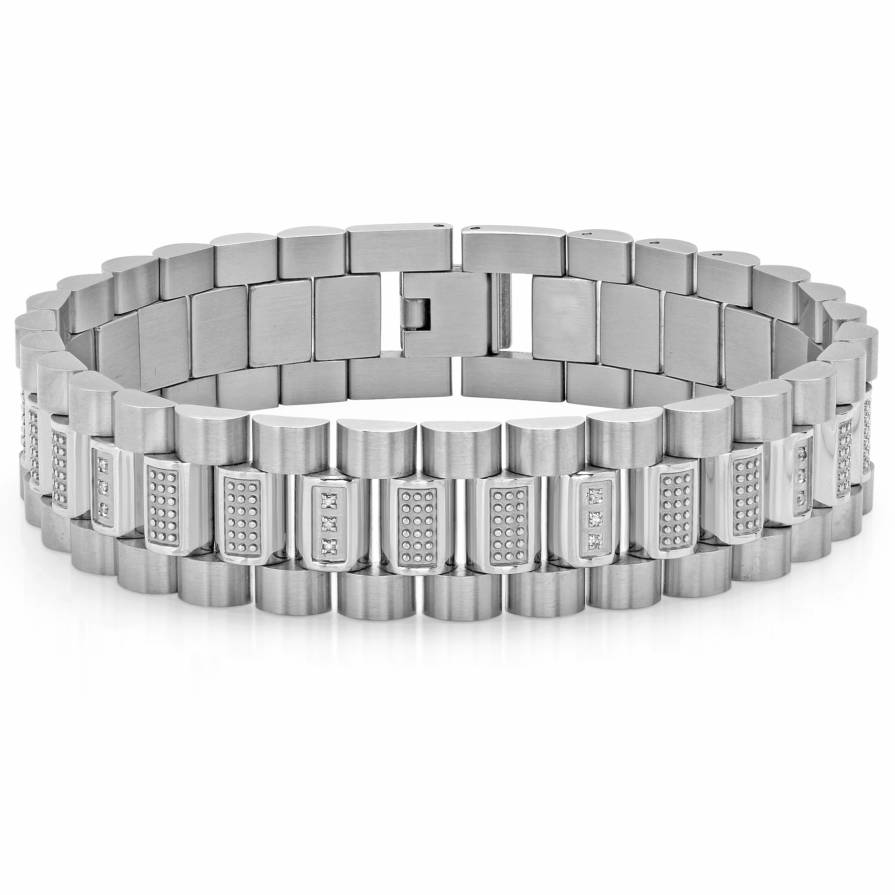 "Men's Stainless Steel .25 White Diamond Rolex Style Mens Clarence Bracelet, 8.5"" by Steel Nation Jewelry"