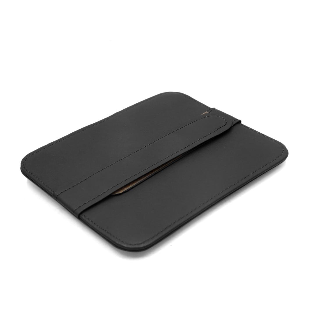 Black Faux Leather Car Sun Visor Card Glasses Storage Holder Pouch Bag Organizer - image 1 de 4