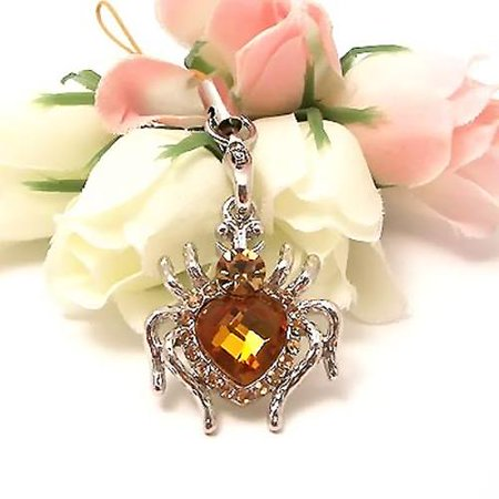 - Heart Shaped Spider Cubic Stone Cell Phone Charm / Strap - Yellow
