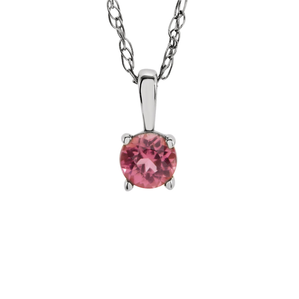 Youth 3mm Round Pink Tourmaline Necklace in 14K White Gold, 14 Inch by Black Bow Jewelry Company