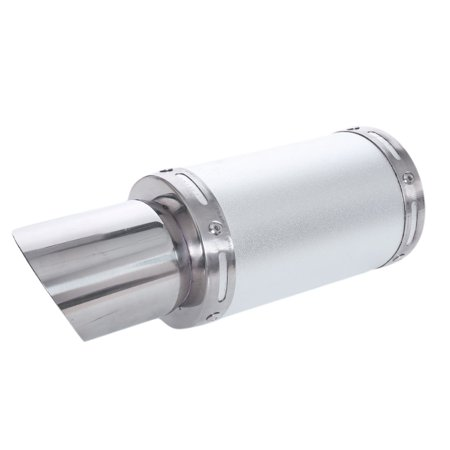 """7"""" Body Long 60mm Inlet Slanted Cut Motorcycle Exhaust Muffler Tip silver Tone"""