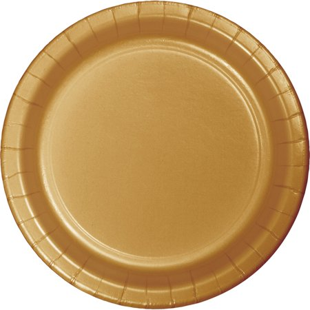 Banquet Paper (10 inch Round Paper Banquet Plate Glittering Gold/Case of 240 )