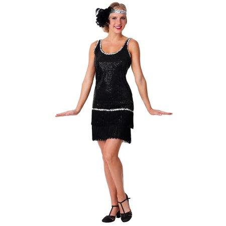 Black Sequin & Fringe Plus Size - Flapper Man